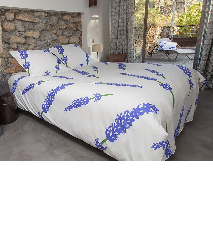 housse de couette motif lavande coton percale 80 fils. Black Bedroom Furniture Sets. Home Design Ideas